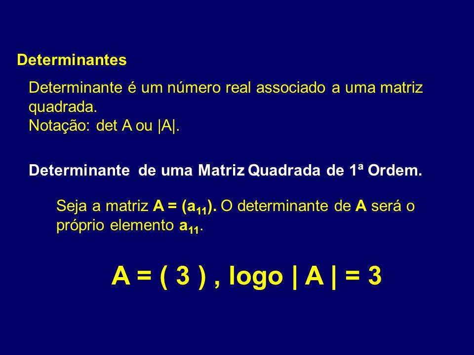 Determinantes Determinante é um número real associado a uma matriz quadrada. Notação: det A ou |A|. Determinante de uma Matriz Quadrada de 1ª Ordem. S