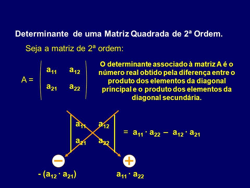 Determinante de uma Matriz Quadrada de 2ª Ordem. Seja a matriz de 2ª ordem: A = a 11 a 12 a 21 a 22 O determinante associado à matriz A é o número rea