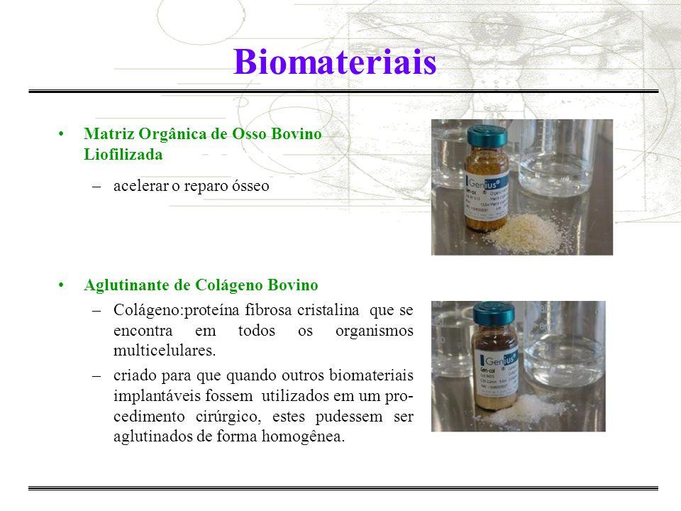 Biomaterias Naturais –Tecidos de sustentação biológicos: colágeno, etc Artificiais: Biocompatibilidade e biofuncionalidade –metais e suas ligas (titânio, aço F-138, etc) –cerâmicas (Alumina, zirconia, etc) –polímeros (poli-ácido lactico (PLLA) e glicólico (PGA) –materias compósitos (SiO 2 -Al 2 O 3 -CaO-CaF 2 )