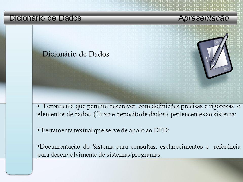 Dicionário de Dados Ferramenta que permite descrever, com definições precisas e rigorosas o elementos de dados (fluxo e depósito de dados) pertencentes ao sistema; Ferramenta textual que serve de apoio ao DFD; Documentação do Sistema para consultas, esclarecimentos e referência para desenvolvimento de sistemas/programas.