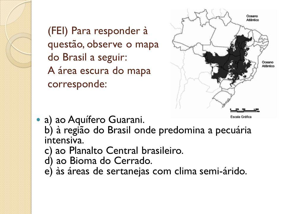 (FEI) Para responder à questão, observe o mapa do Brasil a seguir: A área escura do mapa corresponde: a) ao Aquífero Guarani. b) à região do Brasil on