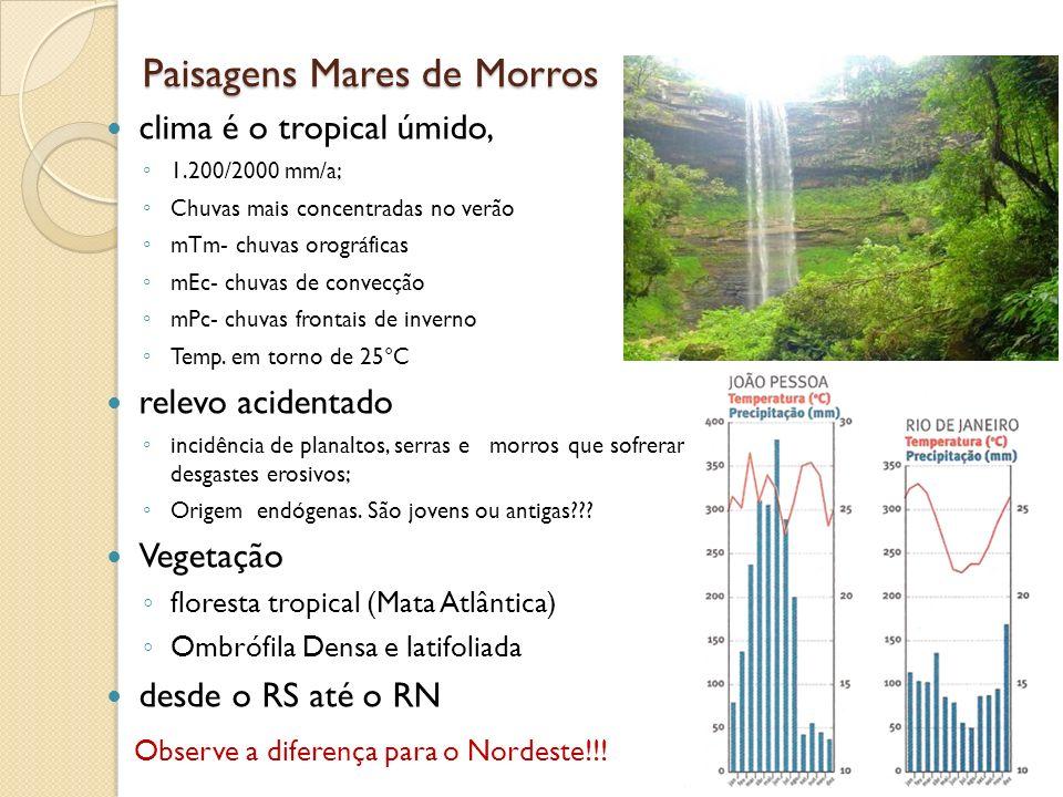 Paisagens Mares de Morros clima é o tropical úmido, 1.200/2000 mm/a; Chuvas mais concentradas no verão mTm- chuvas orográficas mEc- chuvas de convecçã