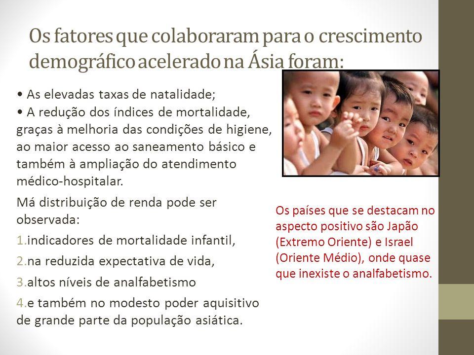 Os fatores que colaboraram para o crescimento demográfico acelerado na Ásia foram: As elevadas taxas de natalidade; A redução dos índices de mortalida