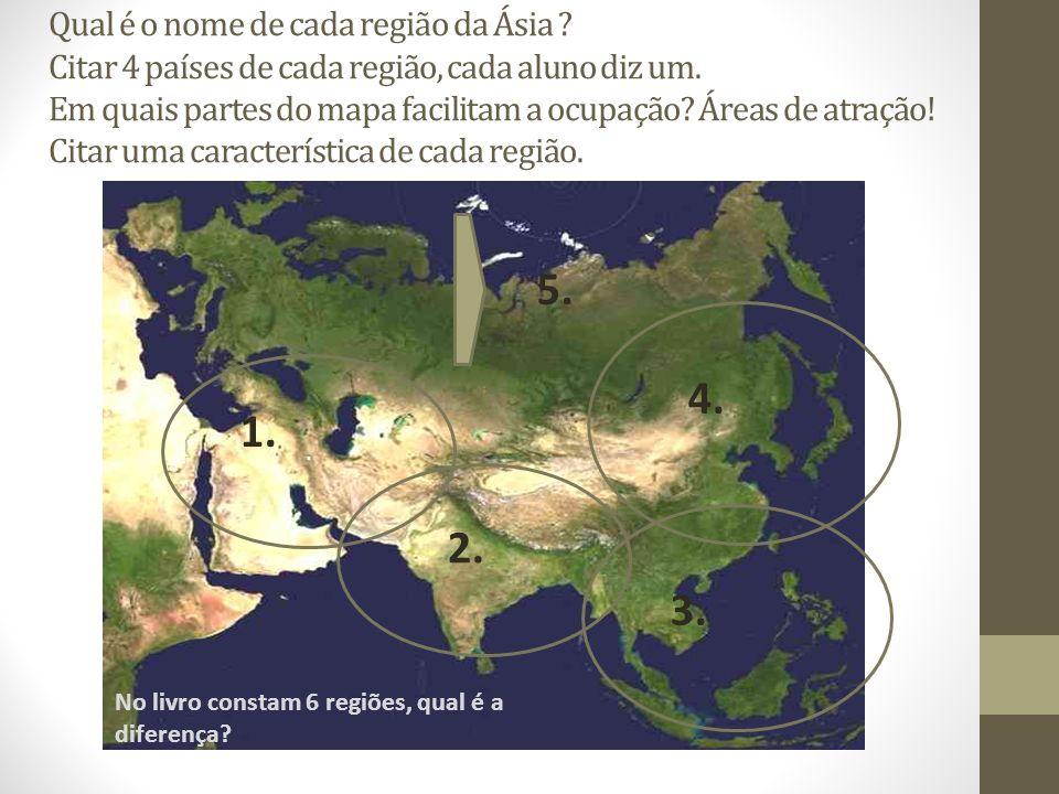 Qual é o nome de cada região da Ásia ? Citar 4 países de cada região, cada aluno diz um. Em quais partes do mapa facilitam a ocupação? Áreas de atraçã