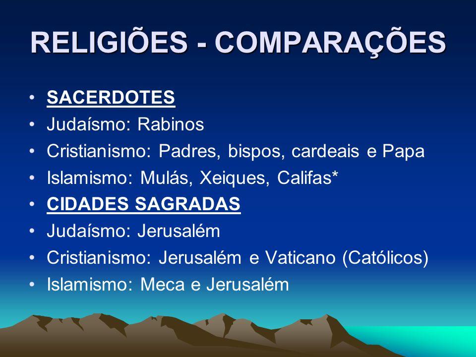 RELIGIÕES - COMPARAÇÕES SACERDOTES Judaísmo: Rabinos Cristianismo: Padres, bispos, cardeais e Papa Islamismo: Mulás, Xeiques, Califas* CIDADES SAGRADA