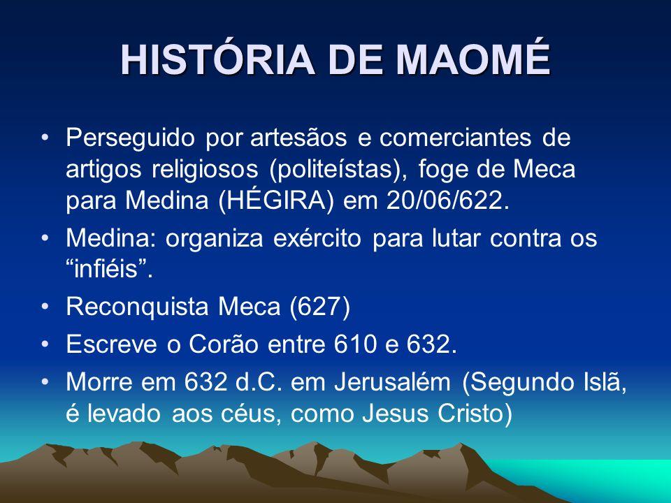 HISTÓRIA DE MAOMÉ Perseguido por artesãos e comerciantes de artigos religiosos (politeístas), foge de Meca para Medina (HÉGIRA) em 20/06/622. Medina: