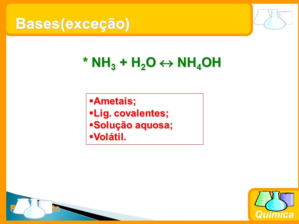 Prof. Busato Química Bases * NH 3 + H 2 O NH 4 OH Ametais; Ametais; Lig. covalentes; Lig. covalentes; Solução aquosa; Solução aquosa; Volátil. Volátil