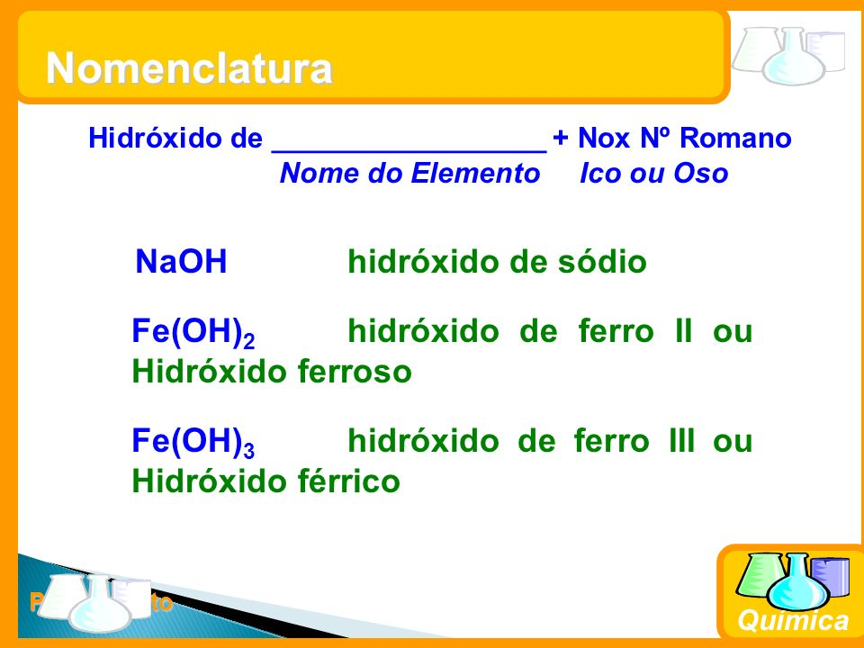 Prof. Busato Química Nomenclatura Hidróxido de _________________ + Nox Nº Romano Nome do Elemento Ico ou Oso NaOHhidróxido de sódio Fe(OH) 2 hidróxido