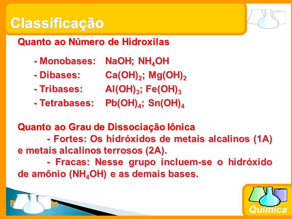 Prof. Busato Química Classificação Quanto ao Número de Hidroxilas - Monobases: NaOH; NH 4 OH - Monobases: NaOH; NH 4 OH - Dibases: Ca(OH) 2 ; Mg(OH) 2
