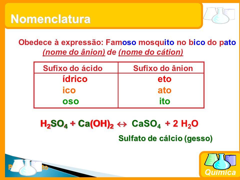 Prof. Busato Química Obedece à expressão: Famoso mosquito no bico do pato (nome do ânion) de (nome do cátion) Nomenclatura Sufixo do ácido Sufixo do â