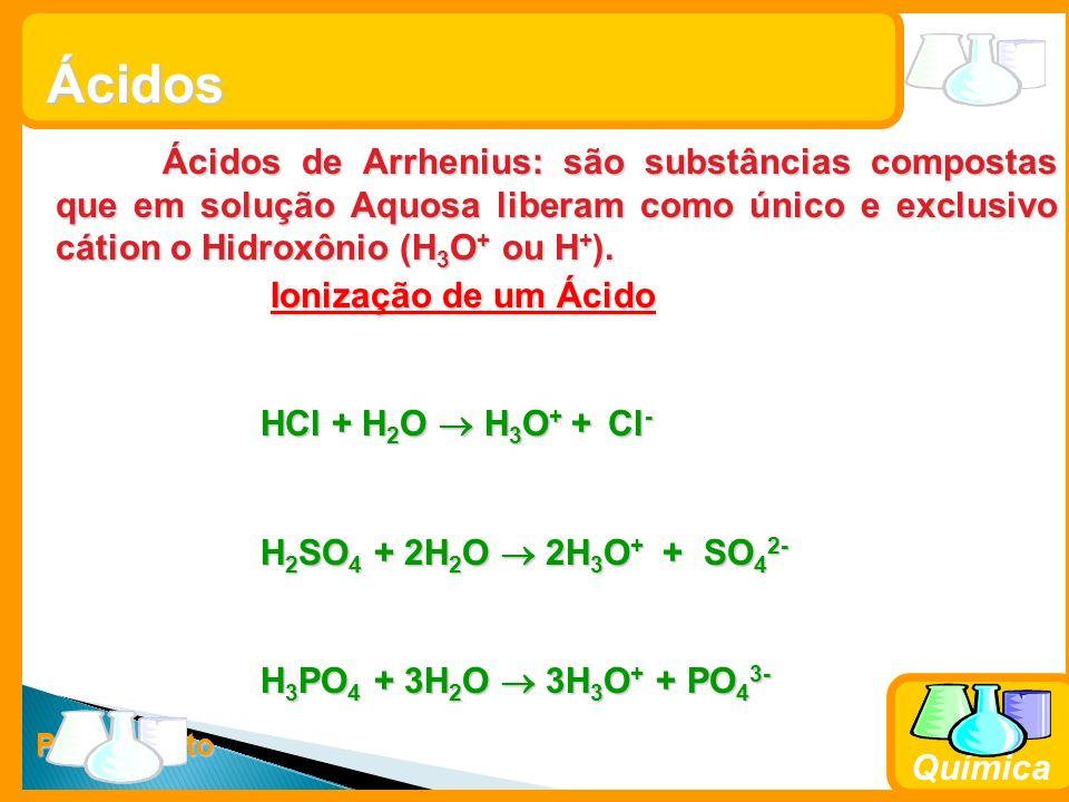 Prof. Busato Química Ácidos Ácidos de Arrhenius: são substâncias compostas que em solução Aquosa liberam como único e exclusivo cátion o Hidroxônio (H