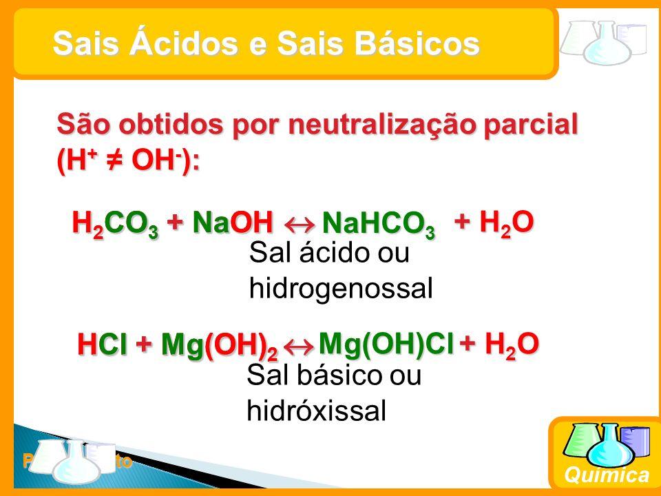 Prof. Busato Química Sais Ácidos e Sais Básicos Sais Ácidos e Sais Básicos São obtidos por neutralização parcial (H + OH - ): H 2 CO 3 + NaOH H 2 CO 3