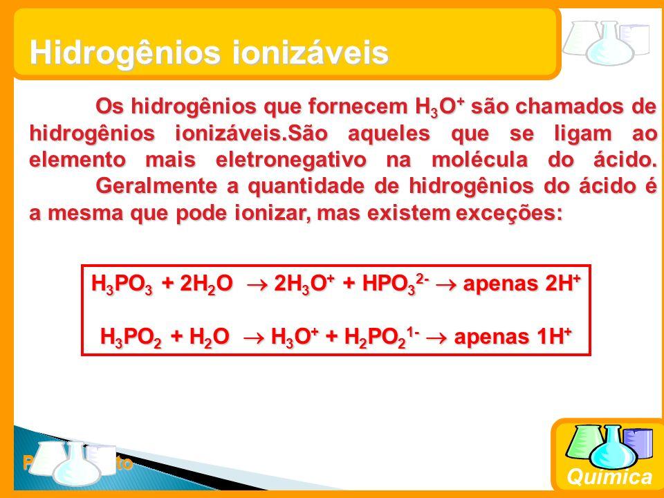 Prof. Busato Química Hidrogênios ionizáveis Os hidrogênios que fornecem H 3 O + são chamados de hidrogênios ionizáveis.São aqueles que se ligam ao ele