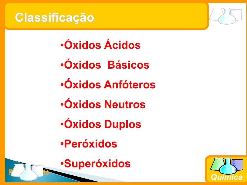Prof. Busato Química Classificação Óxidos Ácidos Óxidos Básicos Óxidos Anfóteros Óxidos Neutros Óxidos Duplos Peróxidos Superóxidos