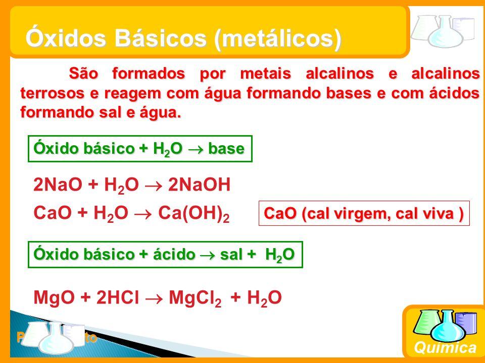 Prof. Busato Química Óxidos Básicos (metálicos) São formados por metais alcalinos e alcalinos terrosos e reagem com água formando bases e com ácidos f
