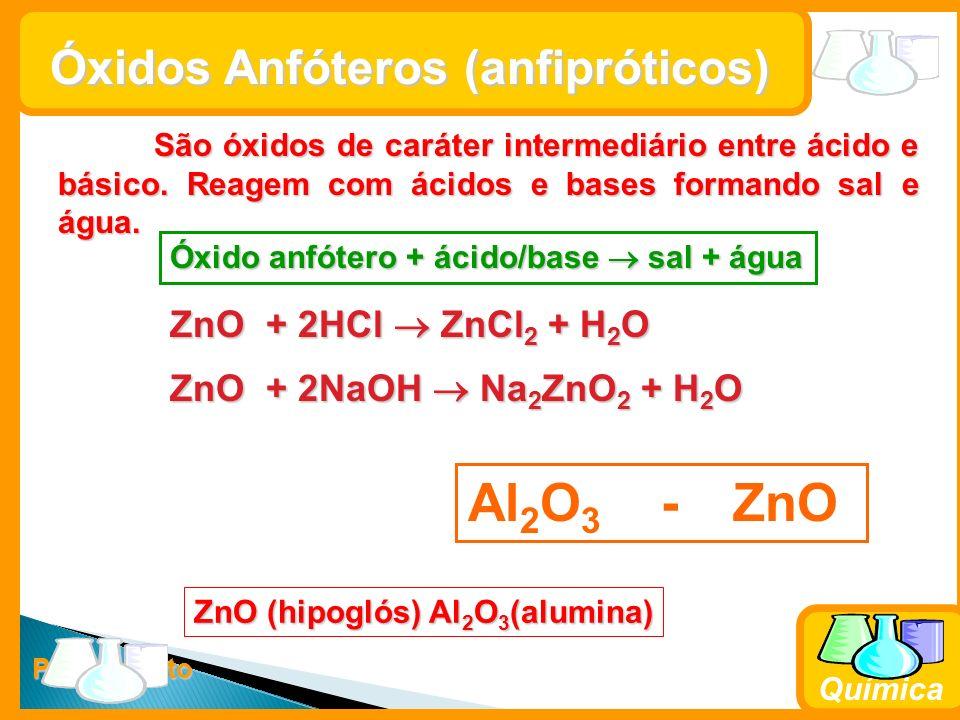 Prof. Busato Química Óxidos Anfóteros (anfipróticos) São óxidos de caráter intermediário entre ácido e básico. Reagem com ácidos e bases formando sal