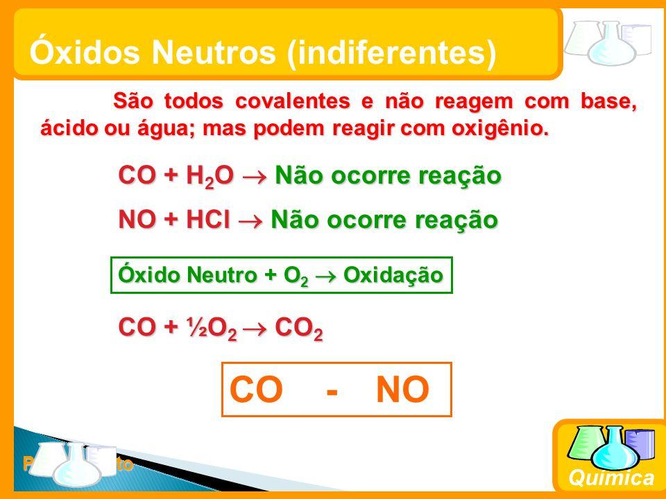 Prof. Busato Química Óxidos Neutros (indiferentes) São todos covalentes e não reagem com base, ácido ou água; mas podem reagir com oxigênio. São todos