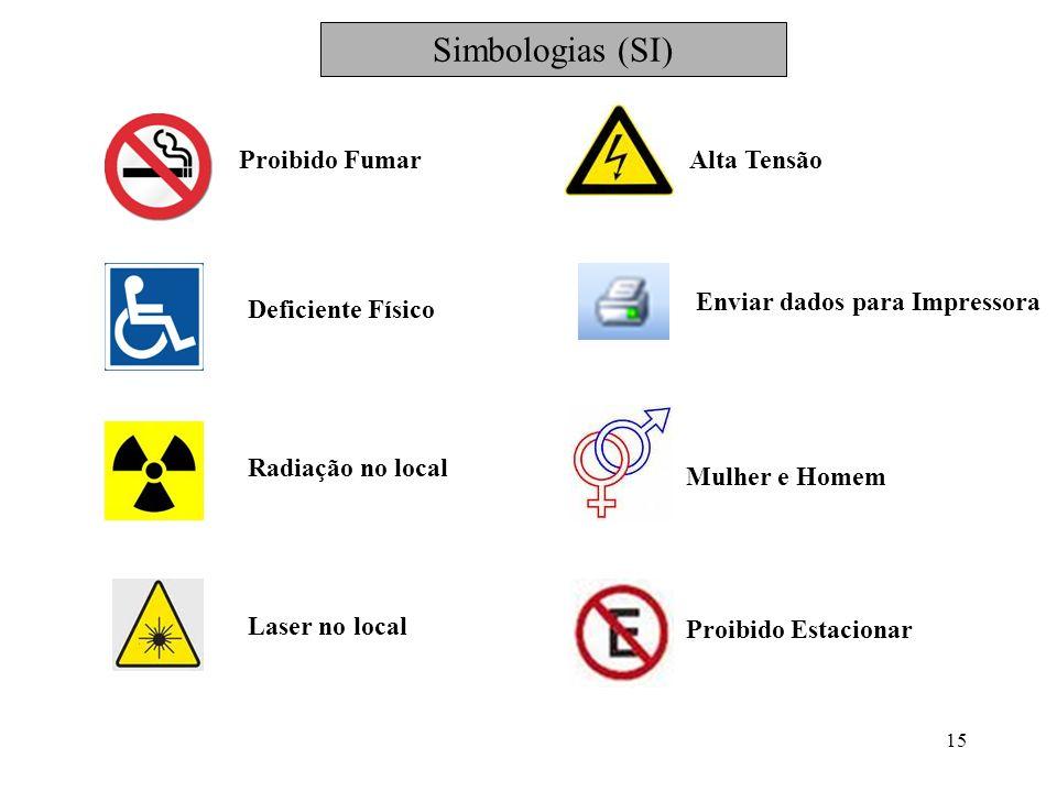 15 Proibido Fumar Deficiente Físico Radiação no local Laser no local Alta Tensão Enviar dados para Impressora Mulher e Homem Proibido Estacionar Simbo