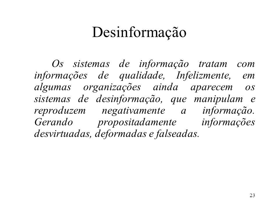 23 Desinformação Os sistemas de informação tratam com informações de qualidade, Infelizmente, em algumas organizações ainda aparecem os sistemas de de