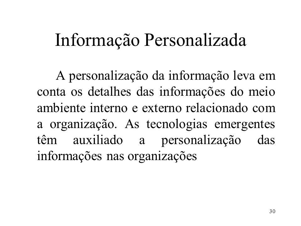 30 Informação Personalizada A personalização da informação leva em conta os detalhes das informações do meio ambiente interno e externo relacionado co