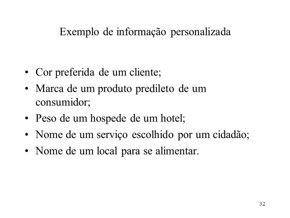 32 Exemplo de informação personalizada Cor preferida de um cliente; Marca de um produto predileto de um consumidor; Peso de um hospede de um hotel; No