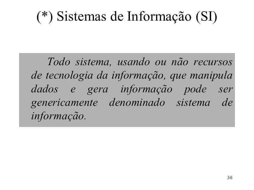 36 (*) Sistemas de Informação (SI) Todo sistema, usando ou não recursos de tecnologia da informação, que manipula dados e gera informação pode ser gen
