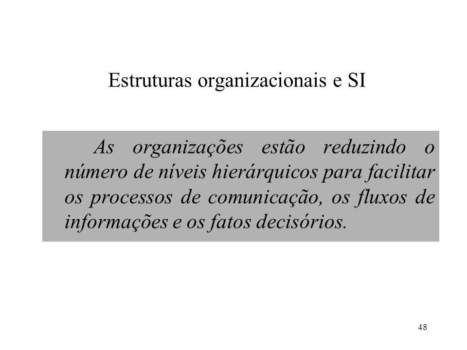 48 Estruturas organizacionais e SI As organizações estão reduzindo o número de níveis hierárquicos para facilitar os processos de comunicação, os flux