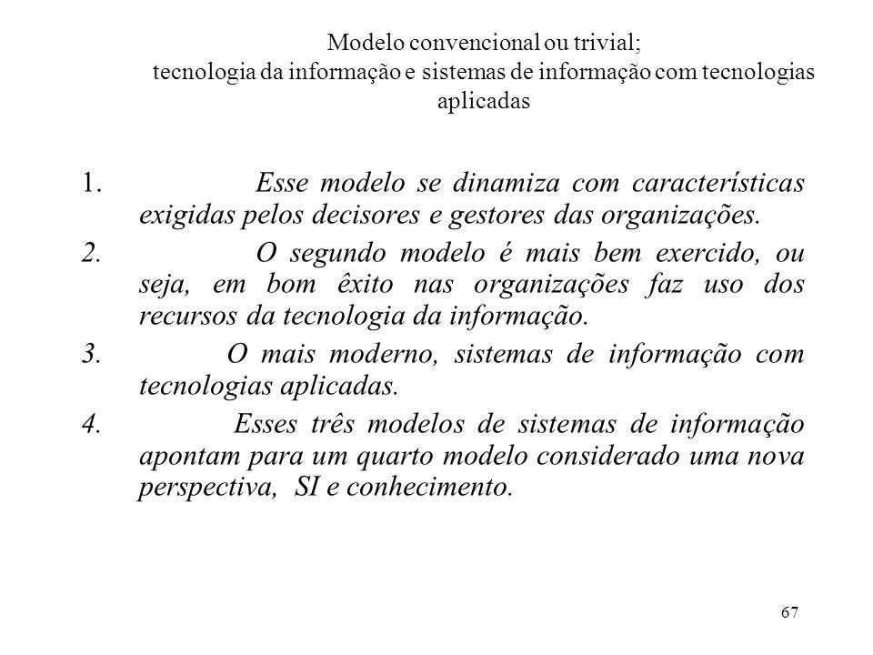 67 Modelo convencional ou trivial; tecnologia da informação e sistemas de informação com tecnologias aplicadas 1.Esse modelo se dinamiza com caracterí