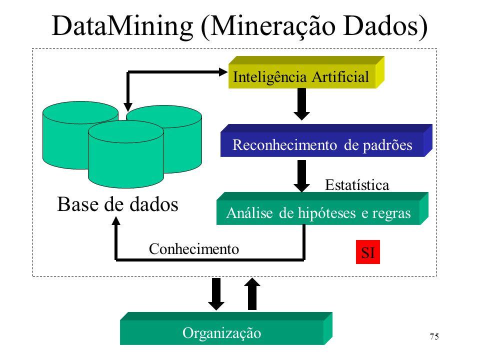 75 DataMining (Mineração Dados) Base de dados Inteligência Artificial Reconhecimento de padrões Análise de hipóteses e regras Conhecimento Estatística