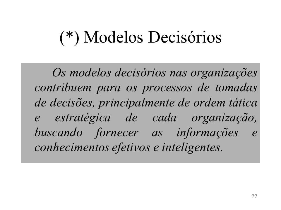 77 (*) Modelos Decisórios Os modelos decisórios nas organizações contribuem para os processos de tomadas de decisões, principalmente de ordem tática e