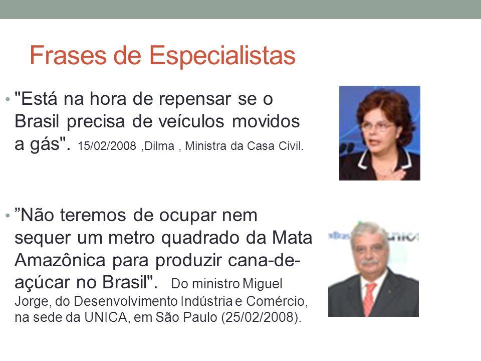 Frases de Especialistas Está na hora de repensar se o Brasil precisa de veículos movidos a gás .