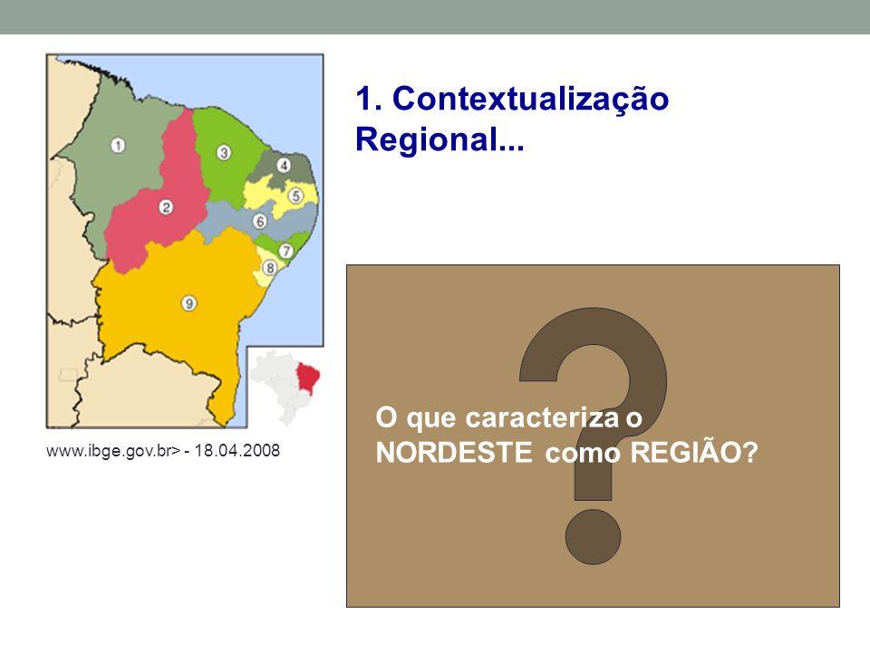 O que caracteriza o NORDESTE como REGIÃO.1. Contextualização Regional...