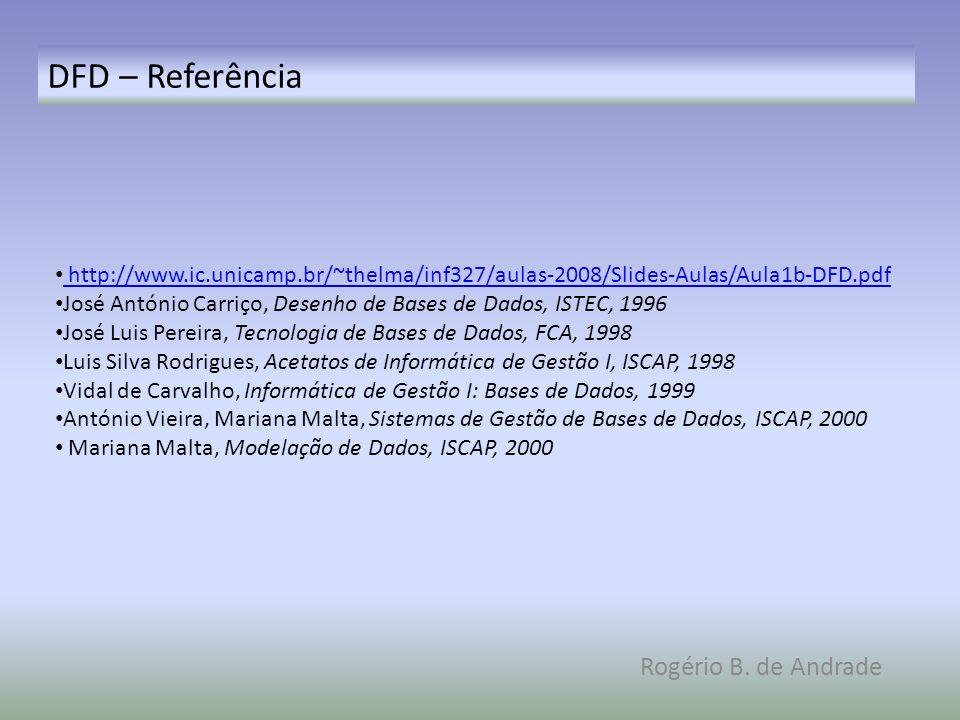 DFD – Referência Rogério B. de Andrade http://www.ic.unicamp.br/~thelma/inf327/aulas-2008/Slides-Aulas/Aula1b-DFD.pdf José António Carriço, Desenho de