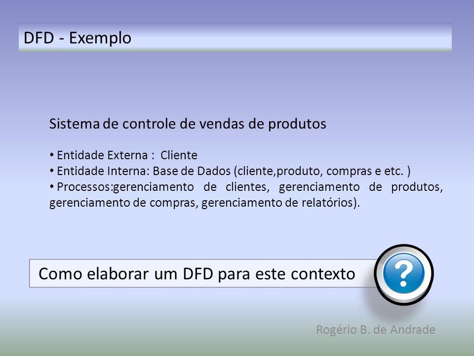 DFD - Exemplo Rogério B. de Andrade Sistema de controle de vendas de produtos Entidade Externa : Cliente Entidade Interna: Base de Dados (cliente,prod