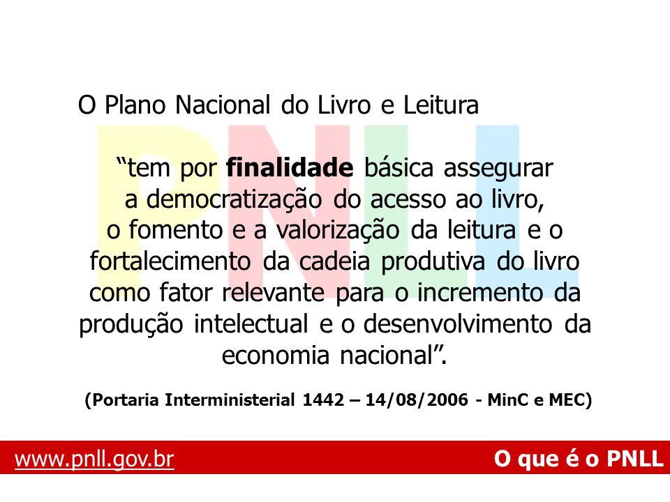 www.pnll.gov.brwww.pnll.gov.br O que é o PNLL O Plano Nacional do Livro e Leitura tem por finalidade básica assegurar a democratização do acesso ao li