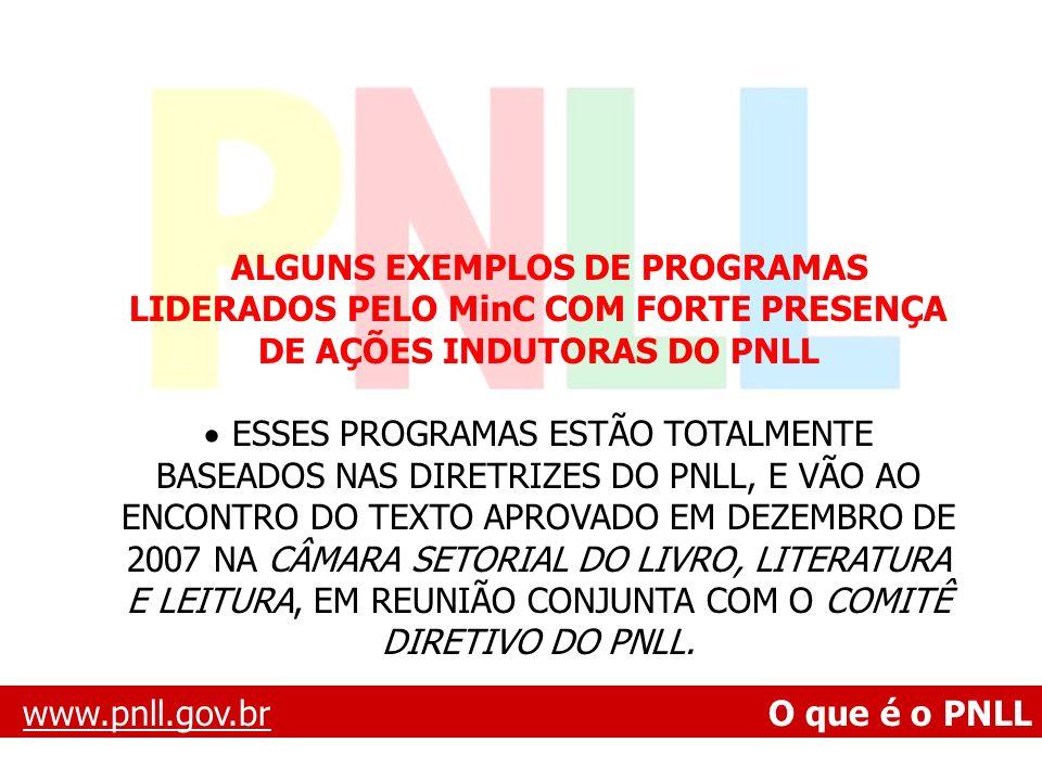 www.pnll.gov.brwww.pnll.gov.br O que é o PNLL ALGUNS EXEMPLOS DE PROGRAMAS LIDERADOS PELO MinC COM FORTE PRESENÇA DE AÇÕES INDUTORAS DO PNLL ESSES PRO