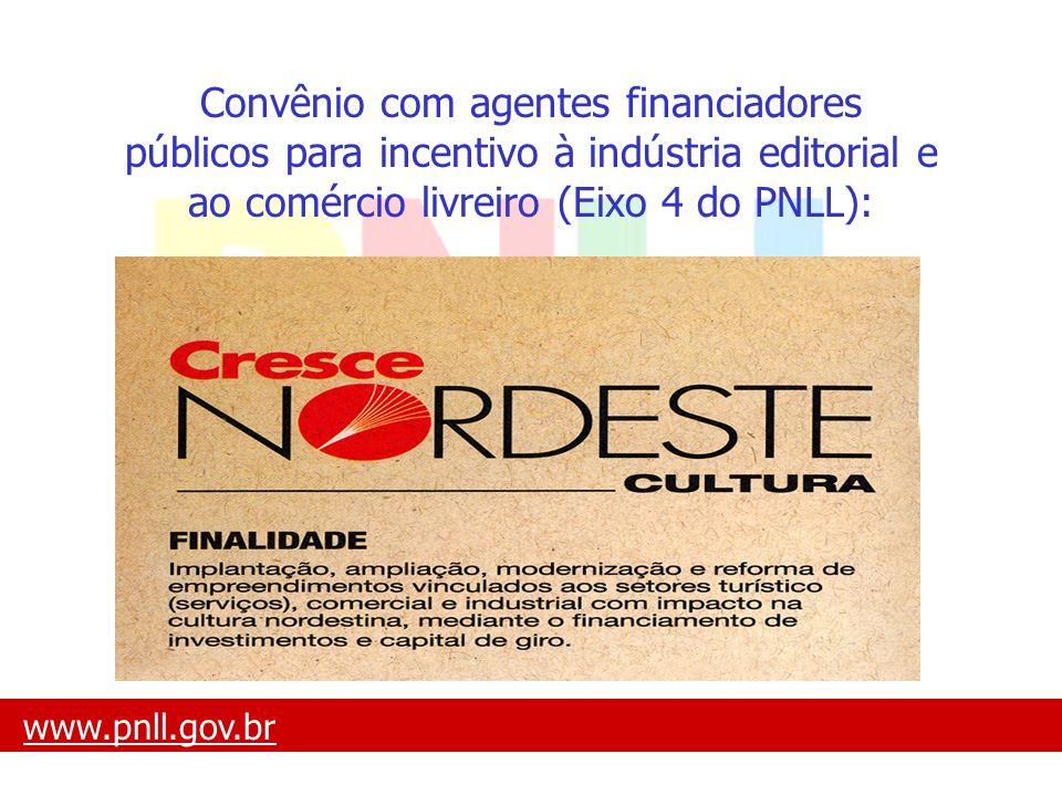 www.pnll.gov.brwww.pnll.gov.br O que é o PNLL Convênio com agentes financiadores públicos para incentivo à indústria editorial e ao comércio livreiro
