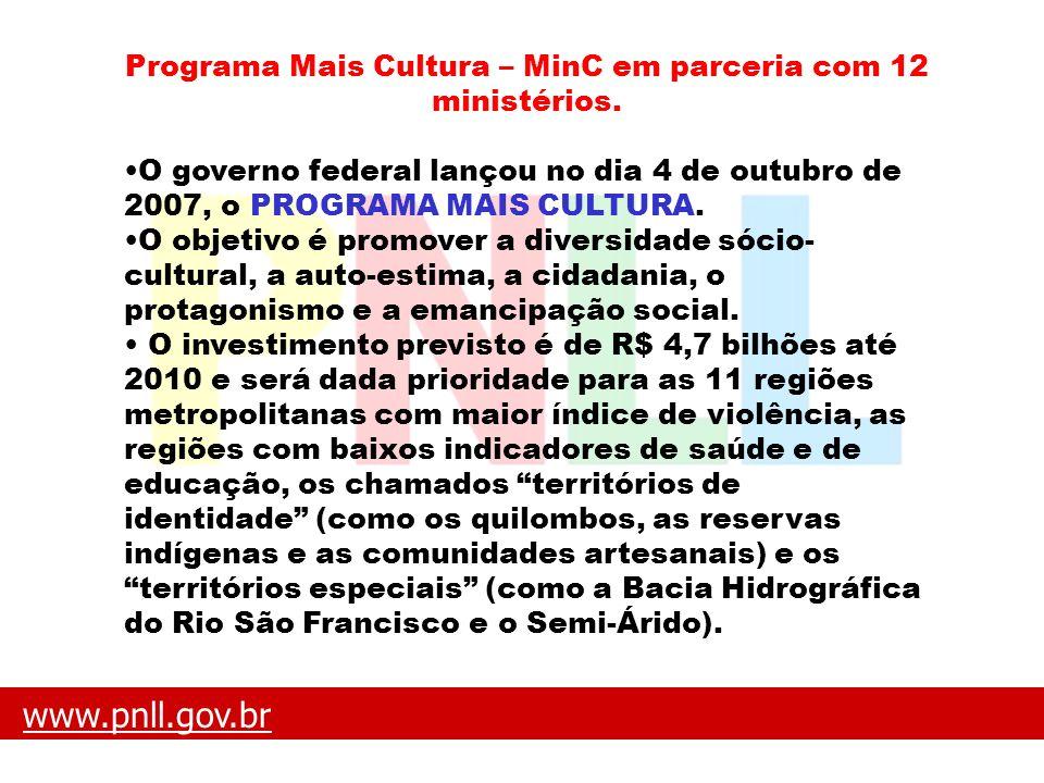 www.pnll.gov.brwww.pnll.gov.br O que é o PNLL Programa Mais Cultura – MinC em parceria com 12 ministérios. O governo federal lançou no dia 4 de outubr