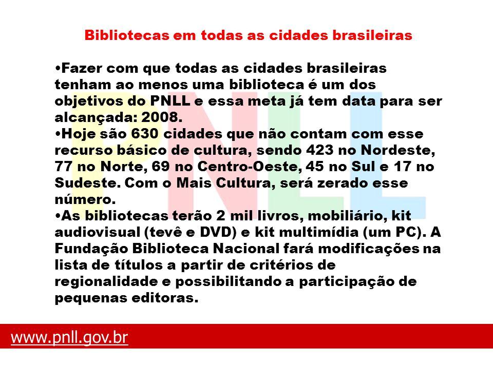 www.pnll.gov.brwww.pnll.gov.br O que é o PNLL Bibliotecas em todas as cidades brasileiras Fazer com que todas as cidades brasileiras tenham ao menos u