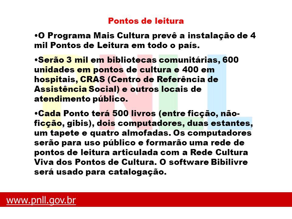 www.pnll.gov.brwww.pnll.gov.br O que é o PNLL Pontos de leitura O Programa Mais Cultura prevê a instalação de 4 mil Pontos de Leitura em todo o país.