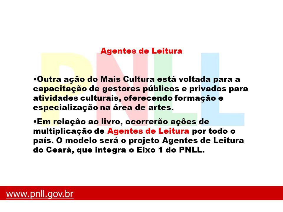www.pnll.gov.brwww.pnll.gov.br O que é o PNLL Agentes de Leitura Outra ação do Mais Cultura está voltada para a capacitação de gestores públicos e pri