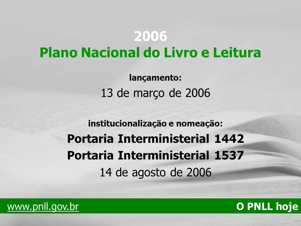 2006 Plano Nacional do Livro e Leitura lançamento: 13 de março de 2006 institucionalização e nomeação: Portaria Interministerial 1442 Portaria Intermi