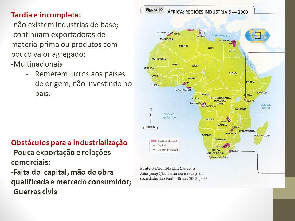 Tardia e incompleta: -não existem industrias de base; -continuam exportadoras de matéria-prima ou produtos com pouco valor agregado; -Multinacionais -