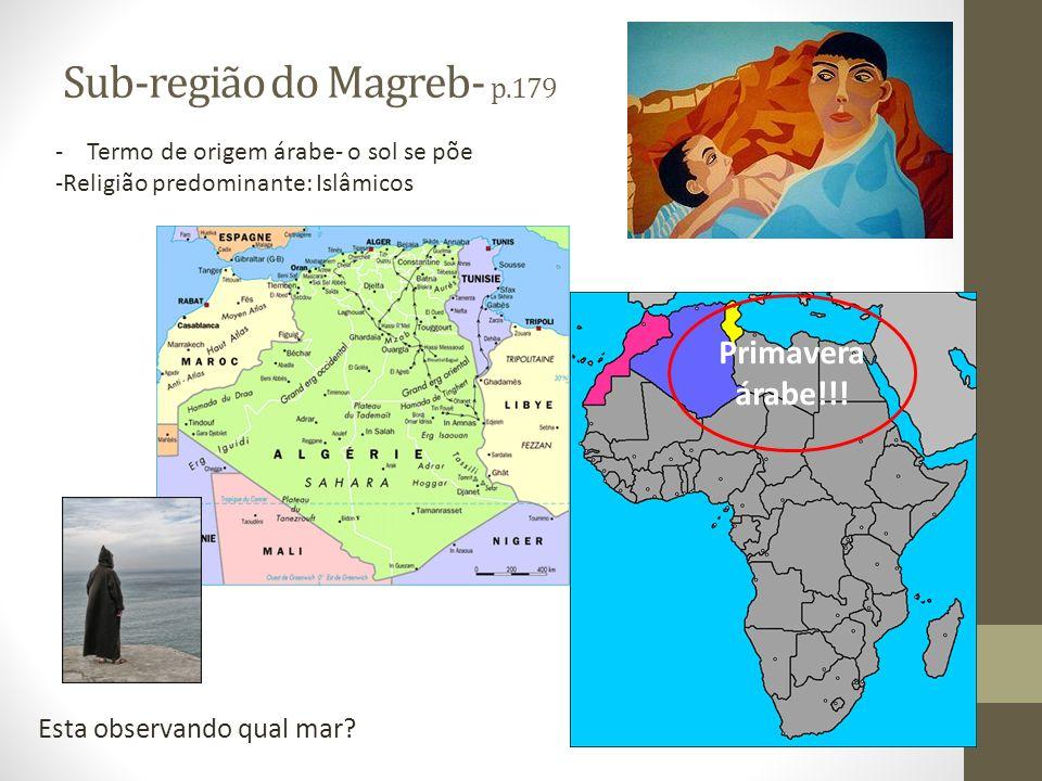 Sub-região do Magreb- p.179 Esta observando qual mar? - Termo de origem árabe- o sol se põe -Religião predominante: Islâmicos Primavera árabe!!!
