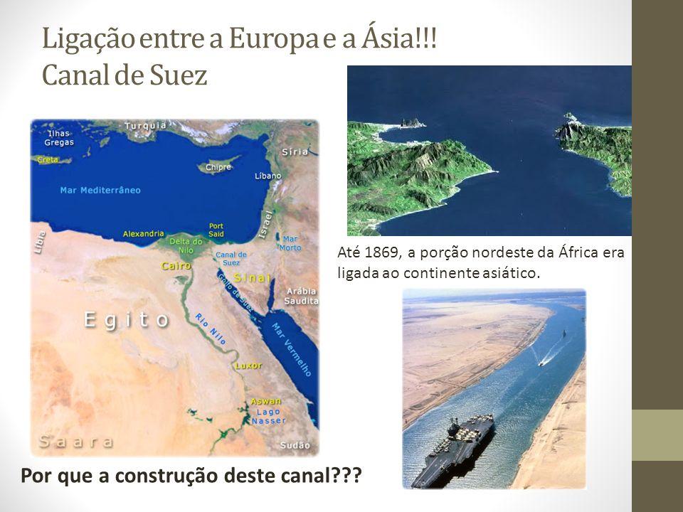 Ligação entre a Europa e a Ásia!!! Canal de Suez Até 1869, a porção nordeste da África era ligada ao continente asiático. Por que a construção deste c