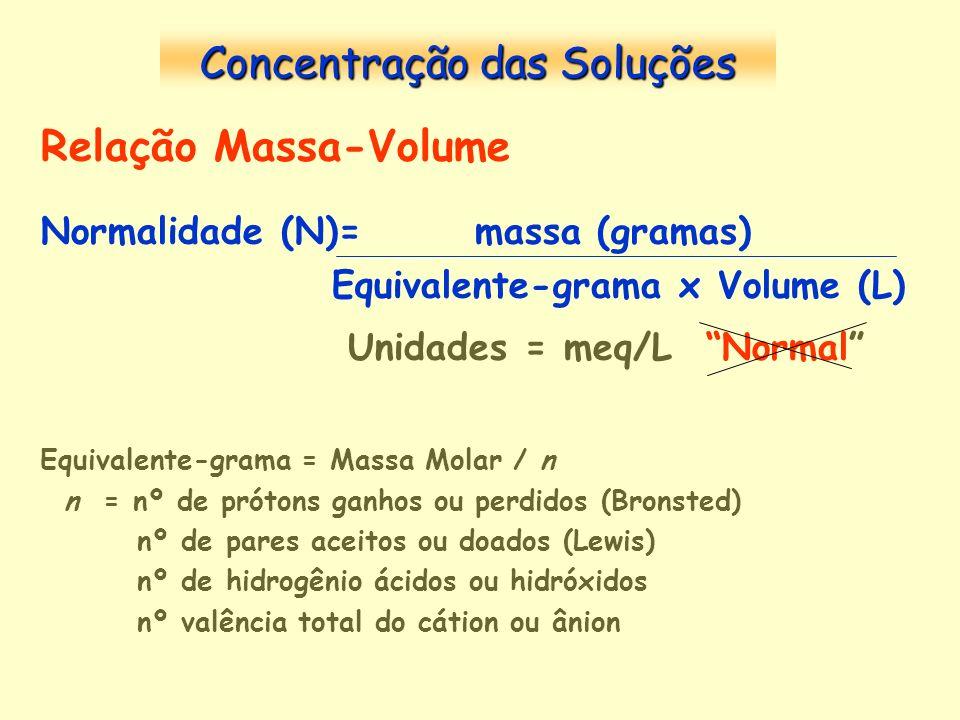 Relação Massa-Volume Normalidade (N)= massa (gramas) Equivalente-grama x Volume (L) Unidades = meq/L Normal Equivalente-grama = Massa Molar / n n = nº