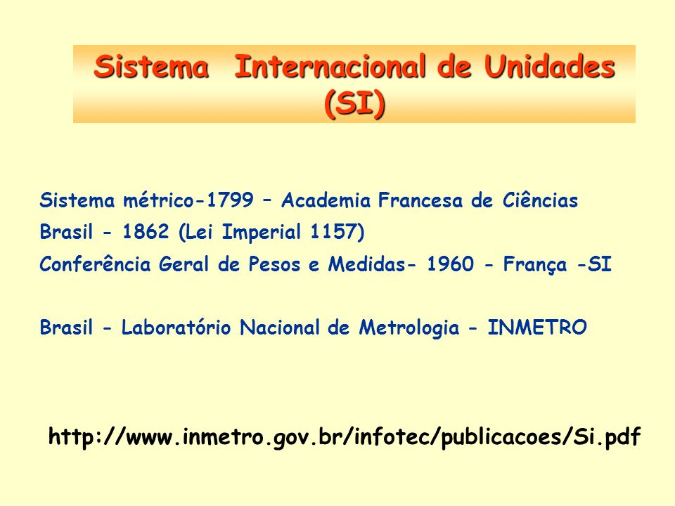 Sistema Internacional de Unidades (SI) Sistema métrico-1799 – Academia Francesa de Ciências Brasil - 1862 (Lei Imperial 1157) Conferência Geral de Pes