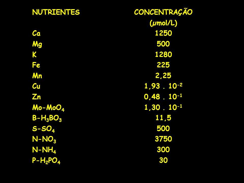 NUTRIENTESCONCENTRAÇÃO (µmol/L) Ca1250 Mg500 K1280 Fe225 Mn2,25 Cu1,93. 10 -2 Zn0,48. 10 -1 Mo-MoO 4 1,30. 10 -1 B-H 3 BO 3 11,5 S-SO 4 500 N-NO 3 375