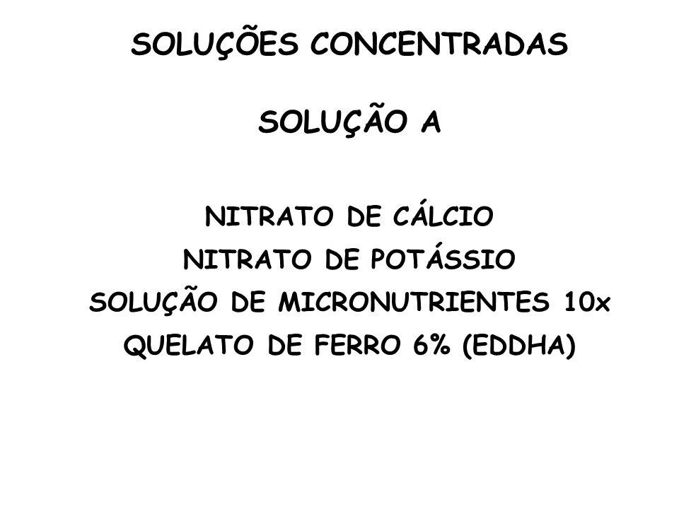 SOLUÇÃO A NITRATO DE CÁLCIO NITRATO DE POTÁSSIO SOLUÇÃO DE MICRONUTRIENTES 10x QUELATO DE FERRO 6% (EDDHA)