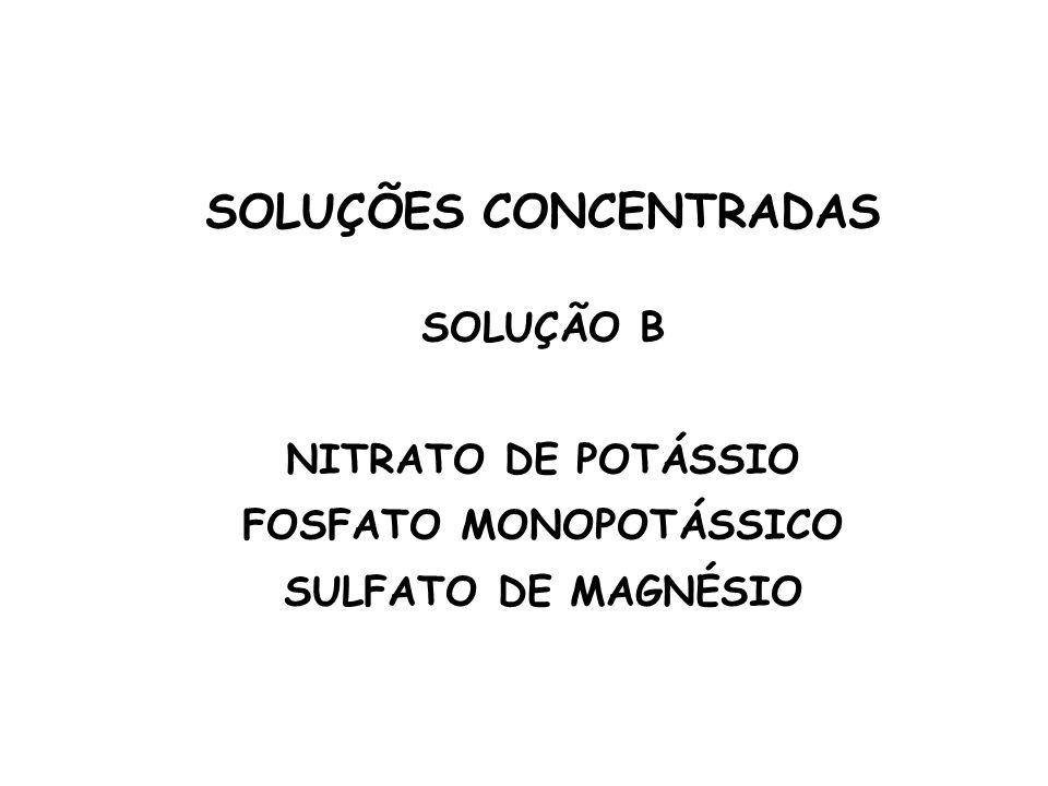 SOLUÇÕES CONCENTRADAS SOLUÇÃO B NITRATO DE POTÁSSIO FOSFATO MONOPOTÁSSICO SULFATO DE MAGNÉSIO